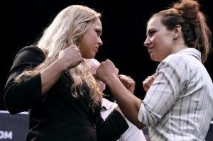 Glendale Fighting Club-trained Ronda Rousey and Miesha Tate continue their Ultimate Fighting Championship's World Tour 2013 at Club Nokia.