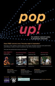 Glendale Arts is hosting Pop Up!, an outdoor concert series throughout the month of September.